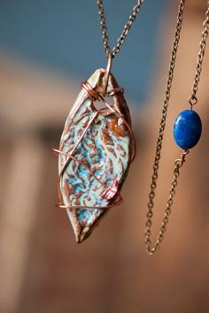 Ceramic pendant necklace I summon you by gloriafaye on Etsy, $62.00