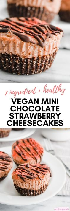Vegan mini chocolate strawberry cheesecakes are a rich, sweet, decadent treat, made with just 7 healthy ingredients. #vegancheesecake #veganminicheesecakes #cheesecake #minicheesecakes #nobakecheesecakes #vegandessert #healthycheesecakes #healthydessert #healthyvegandessert #glutenfree #grainfree #plantbased #chocolate #strawberry #valentinesdaydessert Healthy Vegan Desserts, Vegan Dessert Recipes, Dairy Free Recipes, Whole Food Recipes, Diet Recipes, Mini Cheesecakes, Vegan Cake, Vegan Chocolate, Cupcake Cakes