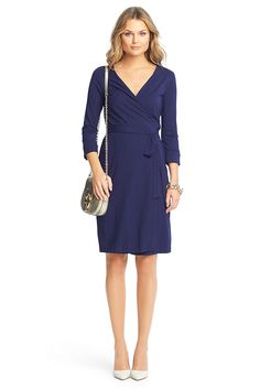 Effortlessly chic every time, the New Julian Two wrap dress is a modern take on a DVF classic. Cross over wrap with a self-tie belt. 3/4 sleeves. Unlined. In our seasonless dress jersey. Falls to above knee. Fit runs small.