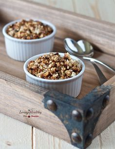 Five Minute Single Serving Apple Crisp (Gluten-free, Paleo) by #LivingHealthyWithChocolate. Juicy granny smith apples are coated with cinnamon, coconut oil and raw honey. The apples are layered with a healthy, wholesome crumble made of macadamia nuts, pecans, cashews, coconut, flaxseed meal and cacao nibs. This dessert is irresistible when served warm with homemade vanilla ice cream or coconut whipped cream!