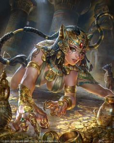 This is how I imagine Bastet would look like! The original cat woman!