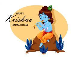 Happy krishna janmashtami. lord krishna | Premium Vector #Freepik #vector #card #cartoon #happy #indian Krishna Leela, Krishna Radha, Hare Krishna, Janmashtami Photos, Happy Janmashtami Image, Janmashtami Greetings, Janmashtami Wishes, Sri Krishna Janmashtami, Janmashtami Celebration