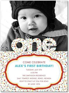 First birthday invites-could be modified to any other theme too