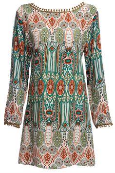 $7.95 Ethnic Style Round Collar Tribal Print Tassel Dress