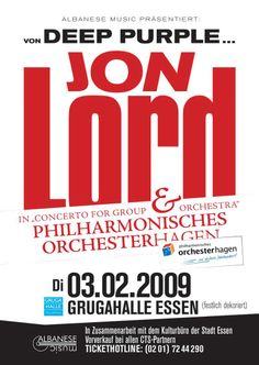 Jon Lord - the Concerto for Group and Orchestra + solo pieces 2009. Germany