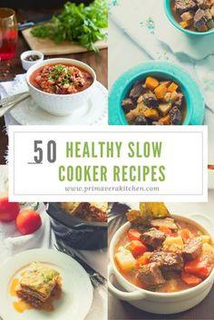 50 Healthy Slow Cooker Recipes - This round-up of 50 healthy slow cooker recipes from around the web are perfect for your week nights. Some of these recipes are also vegetarian, gluten free, low carb, low fat, warm, filling and of course very satisfying!! Hope you all enjoy these healthy and tasty recipes!