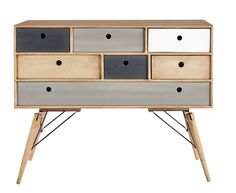 Solid mango wood vintage chest of drawers W 120cm Melting