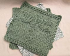 Sage Green Dragonfly Hand Knitted Dish Cloth Wash by MonstaKnits, $12.25