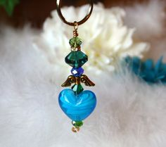 Peacock Beaded Keyring Key Ring Blue Turquoise by glitterpooh, $15.00