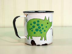 Arabia Finland Finel enamelware farm animal mug