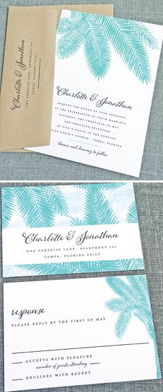 NEW Charlotte Teal Palm Tree Wedding Invitation Sample - Perfect for a Beach, Destination, or Tropical Wedding