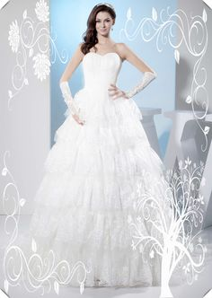 ☆■◆◇◣◢◥Lace + White +☆■◆◇◣◢◥ Ball Gown + Chapel Train Wedding Dress ☆■◆◇◣◢◥
