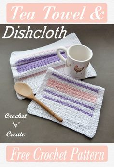 Pretty teatowel & dishcloth kitchen set, FREE crochet pattern on crochetncreate in UK and USA format Crochet Dish Towels, Crochet Scrubbies, Dishcloth Crochet, Crochet Kitchen, Crochet Home, Free Crochet, Crochet Cushion Cover, Crochet Cushions, Modern Crochet Patterns