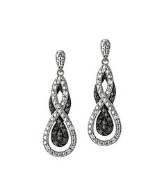 0.25-tw Black & White Diamond Intertwining Infinity Drop Earrings-also available in blue and white