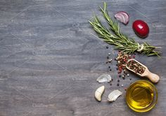 Rosemary, condiment and olive oil by zanoza_z on @creativemarket