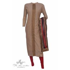 Elegant beige suit accentuated with gota and printed silk dupatta-Mohan's the chic window
