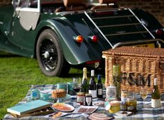 A Fortnum and Mason picnic out of the boot of a bottle-green Morgan. Surely you can't get any more quintessentially English than that?