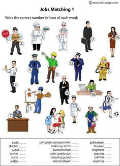jobs worksheets - Learn and improve your English language with our FREE Classes. Call Karen Luceti or email kluceti to register for classes. Eastern Shore of Maryland. English Resources, English Activities, English Lessons, Learn English, 1st Grade Worksheets, Worksheets For Kids, Matching Worksheets, English Words, English Language