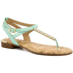Elaine Turner Lilly Leather Sandal ($65) ❤ liked on Polyvore featuring shoes, sandals, nocolor, mint flats, leather sole sandals, leather flat shoes, gold colored sandals and mint green flats