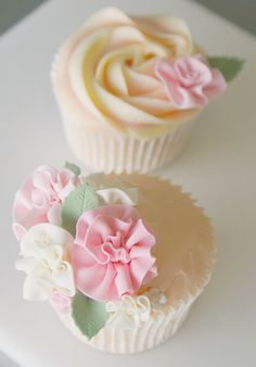 Frilly rose cupcakes. So pretty and I love the soft colors.