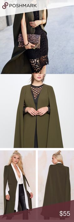 Dark Forest Cape Blazer GO BY MEASUREMENTS NOT SIZE (see last pic)  This Dark Cloak is Satin Lined, The Cape Design overlaps and covers your shoulders giving a flowy effect and exposes your arms.   Boutique NWOT , Packaged with care Shop with Confidence, Top Rated Seller, Poshmark Ambassador! I have my own warehouse, shipping can take up to 4-5 days from me to you due to pulling orders and packaging thanks!  High-Quality 90% Polyester,10% Spandex, Lightweight, Stretchy for all seasons  Tags…