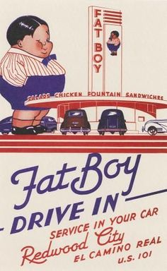 FAT BOY Drive In, service in your car. Redwood City, CA, 1936.