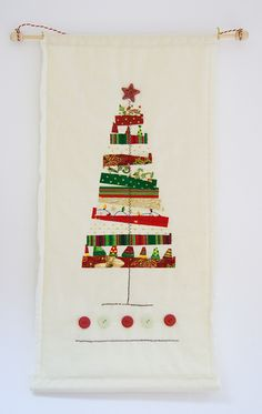 This would be fun to make! raggedy christmas tree wall hanging