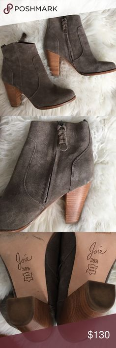 ✨Joie Dalton Suede Heeled Booties Size 7.5✨ These Joie charcoal booties retail for $325! They're gently worn with no scuffs on the suede. Size 7.5 fits true to size.  A versatile must have - our Dalton booties in a super soft charcoal suede upper feature a 3.5 inch wooden block heel, a side zip closure, leather lining and sole. Suede 3.5 inch heel Joie Shoes Heeled Boots