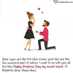 Create propose card with name.Write couple name on Happy Propose Day Wishes images and send propose day greeting card with name editor online Happy Propose Day Wishes, Happy Propose Day Image, Propose Day Images, Proposal Quotes, Love Proposal, Proposal Pictures, Hug Day Pictures, Name Pictures, Propose Day Picture