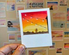 Polaroid paintings by TalbotDesigns Small Canvas Paintings, Small Canvas Art, Cute Paintings, Mini Canvas Art, Simple Paintings, Mini Tela, Cool Art Drawings, Simple Drawings, Watercolor Art