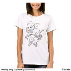 Sketchy Baby Elephant T-Shirt Cute Sketches, Baby Elephant, Wardrobe Staples, Colorful Shirts, Fitness Models, Shop Now, Branding, Female, Casual