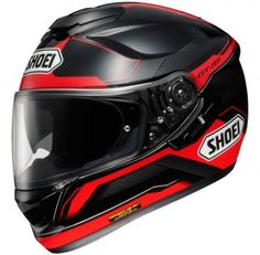 A red and black graphic helmet, this design has been very strong for us since it hit our shelves. We don't think Shoei have particularly marketed this helmet at any particular bike manufacturer