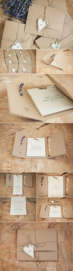 Kraft invitations with lavender