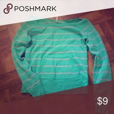 Off the shoulder, front pocket sweat shirt Greenish blue/teal and gray striped sweat shirt Old Navy Tops Sweatshirts & Hoodies