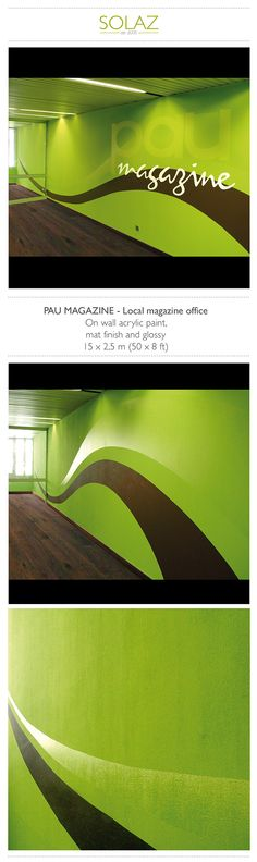 PAU MAGAZINE - Local magazine office by Helene Bataille, via Behance -  www.designbysolaz.com #drawing #illustration #painting #paint #mural #wallpainting #green #glossy #artisanal #shop #factory #handwork