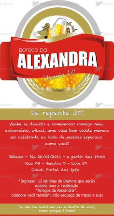 Convite para festa de boteco Vintage Posters, Party Time, Diy And Crafts, Bar, Amanda, David, Birthday Cookout, Bean Stew, Tv Rooms