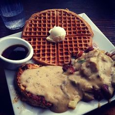 Vegan Chicken and Waffles at Flore in Sliver Lake, CA.  Can't wait to try these.