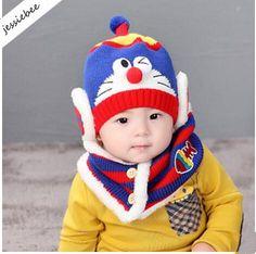 2019 New Baby Infant Knitted Hat Cap Scarf Set Boys Girls Kids Cartoon  Doraemon Earflaps Hat Winter Warm Hat From Jessiebee 061b1f9037fe