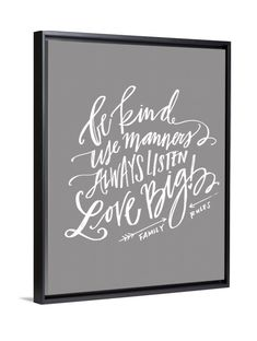 Emily Ley's Family Rules canvas art by Lindsay Letters.