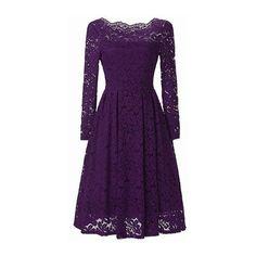 Rotita Scalloped Neckline Long Sleeve High Waist Purple Dress ($39) ❤ liked on Polyvore featuring dresses, purple, lace sleeve dress, boat neck dress, long sleeve knee length dresses, purple dress and print dresses