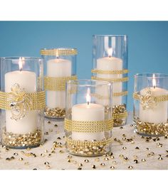 silver would be better - Gold Wrapped Vases | Gold Votive Holders | Gold Wedding Vase | DIY Wedding Vase Instructions