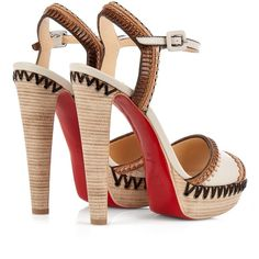 Christian Louboutin Trepi platform sandals (15.315 ARS) ❤ liked on Polyvore featuring shoes, sandals, обувь, summer sandals, leather platform shoes, summer shoes, platform shoes and light grey shoes