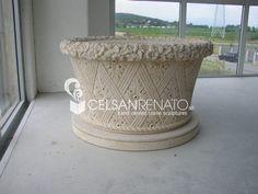 #Stone #vase with #Vicenza stone. Stone Sculpture, Garden Ornaments, Urn, Vases, Planter Pots, Sculptures, Decor, Decoration, Rock Sculpture