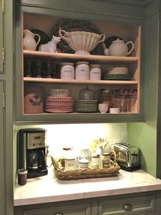 I love this little breakfast station by vignette design: Show And Tell: What A Crock! Coffee Bar Station, Coffee Station Kitchen, Home Coffee Stations, Breakfast Station, Breakfast Nook, Decorating Your Home, Diy Home Decor, Home Bar Sets, Bar Displays
