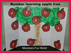 Number learning game with free printables along with a fun song to sing when having the kids pick the right number apple.