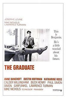 The Graduate is a 1967 American comedy-drama motion picture directed by Mike Nichols.[2] It is based on the 1963 novel The Graduate by Charles Webb, who wrote it shortly after graduating from Williams College. The screenplay was by Buck Henry, who makes a cameo appearance as a hotel clerk, and Calder Willingham. The film tells the story of Benjamin Braddock (played by Dustin Hoffman), a recent university graduate with no well-defined aim in life, who is seduced by an older woman, Mrs. Robinso...