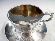 Antique silver mustache tea cup Barbour quadruple plate Christmas c.1891