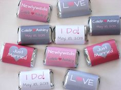 Too cute pink and grey wedding Hershey Candy Wrappers in Pink and Gray