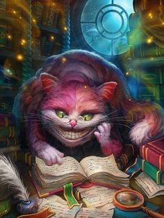 Concept Art and Illustrations by Grafitart Reminds me of the Cheshire Cat from Alice in Wonderland Fantasy, Game Art, Fantasy Art, Cat Art, Painting, Illustration Art, Disney Art, Art, Alice In Wonderland