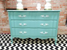 pretty teal dresser  french provincial dresser in turquoise